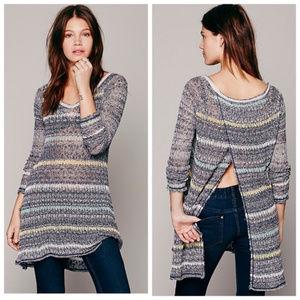 Free People Sheer Open Back Sweater Dress $128